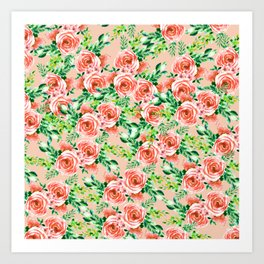 Botanical red green coral watercolor floral roses pattern Art Print