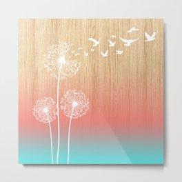 Dandelions Blow Into Birds Wood Pink Teal Metal Print
