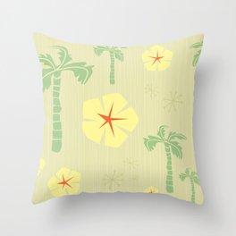 Midcentury Tiki Print Hawaii Retro Vintage Throw Pillow