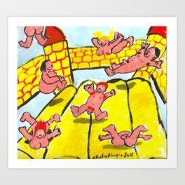 Pink People On Bouncy Castle Art Print