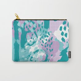 Riley - modern abstract trendy color palette nursery art decor lilac turquoise happy painting Carry-All Pouch