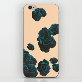 Green and Black Roses on Peach, Greenery iPhone Skin