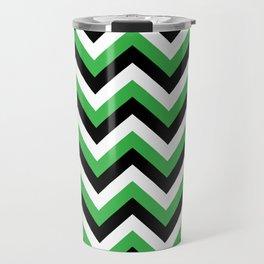 Green White and Black Chevrons Travel Mug