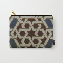 Red Blue and Gold Mosaic Painted tile   Carry-All Pouch