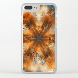 Surreal butterflies on corrugated iron mandala Clear iPhone Case