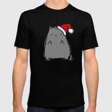 Christmas Cat Double Bird Mens Fitted Tee MEDIUM Black