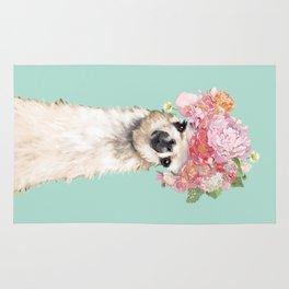 Llama with Flowers Crown #3 Rug