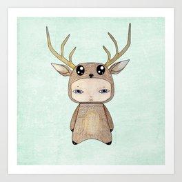 A Boy - Red Deer Art Print