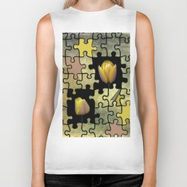 tulips and puzzle -2- Biker Tank