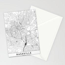 Nashville White Map Stationery Cards