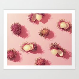 02_#Rambutan#tropical#fruits#in pink Art Print