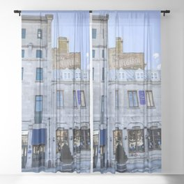 Digital Painting of Traditional Quebecois Buildings on a Winter's Day in Old Port Montreal Sheer Curtain