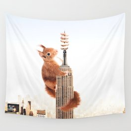 Squirrel-zilla Wall Tapestry