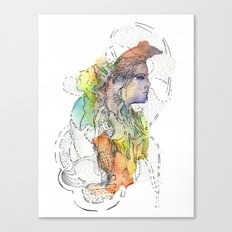 Abstract Portrait Illustration Watercolor Painting  Canvas Print