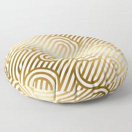 Art Deco Gold and White Geometric Ornate Pattern Floor Pillow