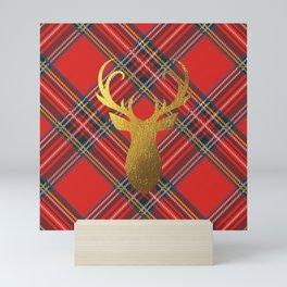 Gold Stag Head On Red Tartan Mini Art Print