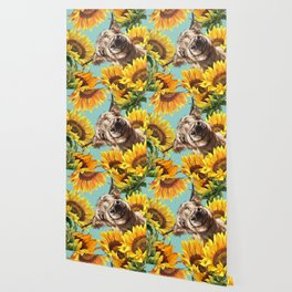 Highland Cow with Sunflowers in Blue Wallpaper