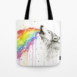 Wolf Rainbow Watercolor Animal Tote Bag