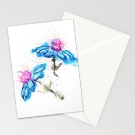 Blue Flowers Painting Stationery Cards