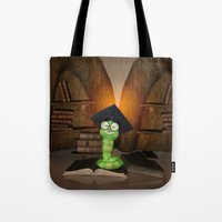 bookworm Tote Bags featuring Cute bookworm by nicky2342