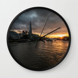 Sunset over the Thames Wall Clock