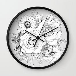Rose and Aster (gray) Wall Clock