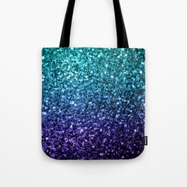 Beautiful Aqua blue Ombre glitter sparkles Tote Bag