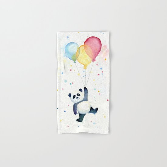 Birthday Panda Balloons Cute Animal Watercolor Hand & Bath Towel