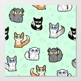 House Cats - Cartoon Pattern Green Canvas Print