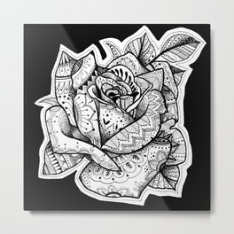 Henna Rose Tattoo Metal Print