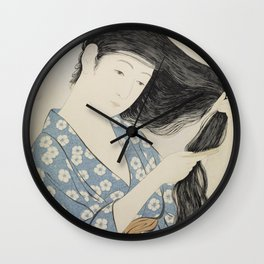 Hashiguchi Goyo: Woman Combing Her Hair Japanese Woodblock Print Blue Floral Kimono Black Hair Wall Clock