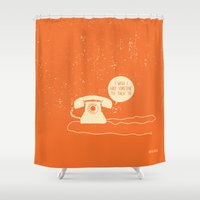 telephone Shower Curtains featuring Telephone & Nobody by Safwat Saleem