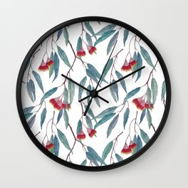 Eucalyptus leaves and flowers on light Wall Clock