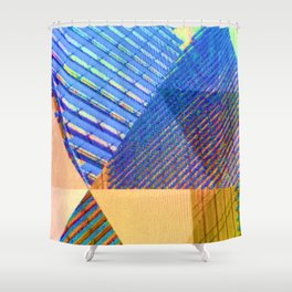 Geometric, Architectural Colorful Graphic Designs Shower Curtain