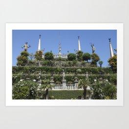 Gardens of Borromeo Palace on Isola Bella, Stresa,Italy. Art Print