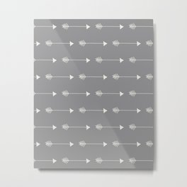 Neutral Grey Tribal Arrows Metal Print