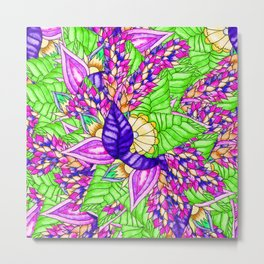 Bright purple green floral pattern waercolor illustration Metal Print
