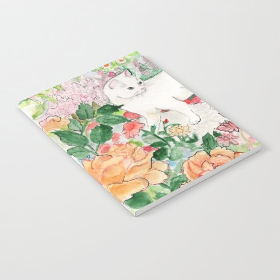 White Cat in a Garden Notebook