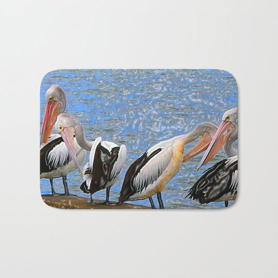 Pelicans in a Row Bath Mat