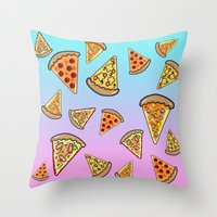 pizza Throw Pillows featuring PIZZA by SteffiMetal