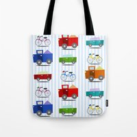 cars Tote Bags featuring Cars by Alapapaju