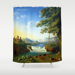 Waterfall and Temple of Juno Lacinia; Calabria, Italy by Jakob Philipp Hackert Shower Curtain