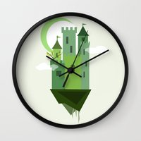 castle in the sky Wall Clocks featuring Sky Castle 2 by Becky Gibson