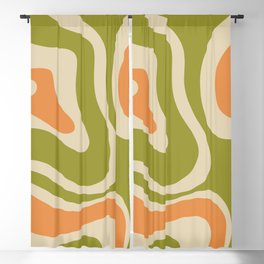 Retro Modern Liquid Swirl Abstract Pattern in Avocado Green, Orange, and Beige Blackout Curtain