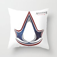assassins creed Throw Pillows featuring Assassins Creed - Space by Fatih