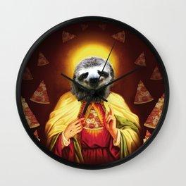 Holy Pizza Sloth Lord Jesus All over big print Animal Savior Wall Clock