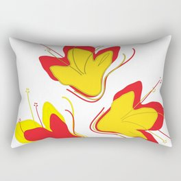 Abstract Vector Digital Art Golden Flowers Rectangular Pillow