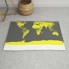 world map : Yellow & Gray Rug