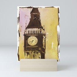Watercolor painting of Big Ben rising above buildings near Trafalgar Square at dawn- London, England Mini Art Print