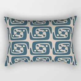 Mid Century Modern Galaxy Pattern Peacock Blue and Beige Rectangular Pillow